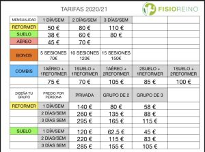 TARIFAS PILATES 2020/21