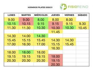HORARIOS PILATES 2020/21- REFORMER (AMARILLO), SUELO (VERDE) Y AÉREO (ROSA)